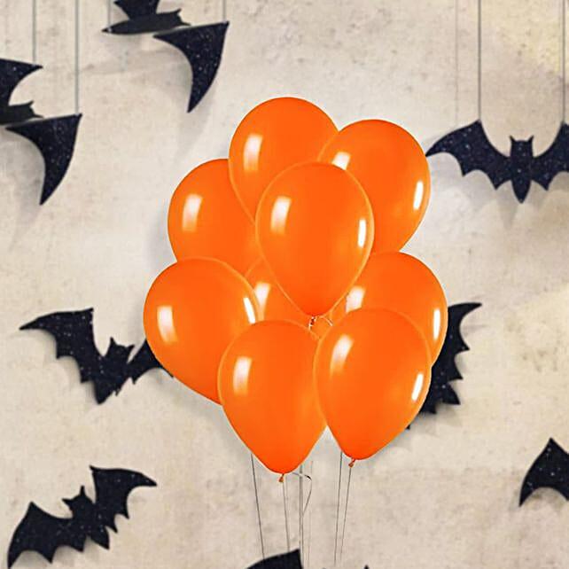 Orange Latex Balloons 10 Pcs:Send Spooky Halloween Gifts