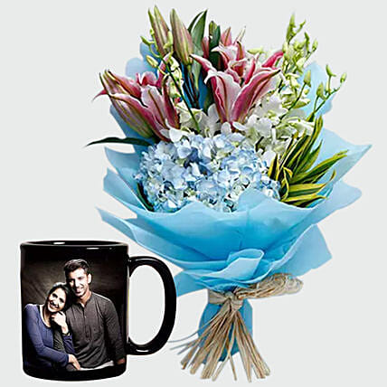 Oriental Lilies Bouquet and Personalised Mug:Personalised Mugs to UAE