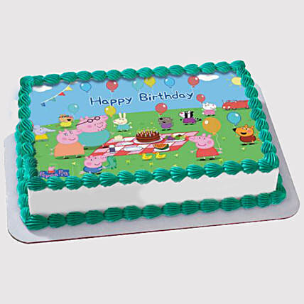 Peppa Pig Birthday Party Photo Cake:Designer Cake Delivery in UAE