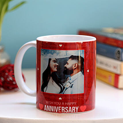 Personalised Anniversary Red Heart Mug