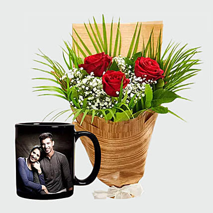 Personalised Mug and Red Roses:Personalized Gifts Dubai UAE