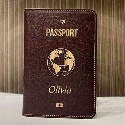 Personalised Passsport Holder Brown
