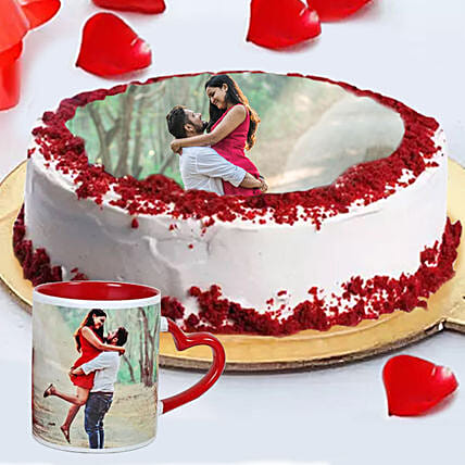 Order Red Velvet Photo Cake with Mug Online:Personalised Gifts to UAE