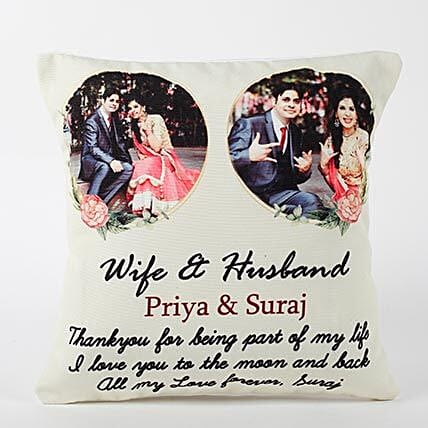 Personalised Wife and Husband Cushion