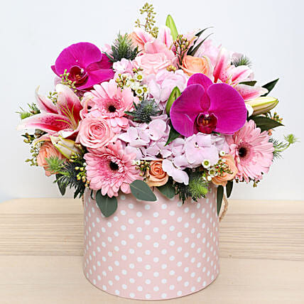 Pink and Peach Mixed Flowers Arrangement