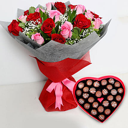 Pink and Red Roses Bouquet with Heartshape Chocolates