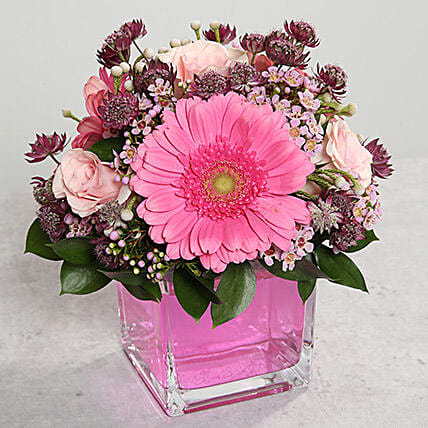 Pink Gerberas and Roses Arrangement