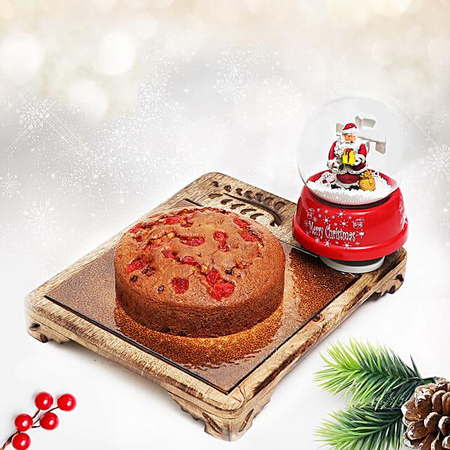 Plum Cake & Musical Santa Snow Globe