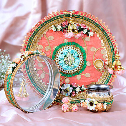 Pretty Peach Pooja Thali Set:Karwa Chauth Presents to UAE