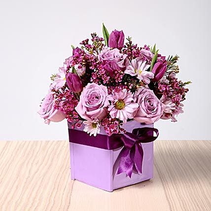Purple Flowers Vase Arrangement