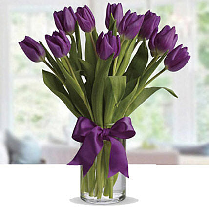 Purple Tulip Arrangement:Send Flowers to UAE