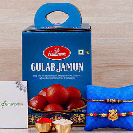 Raksha Bandhan Hamper Gulab Jamun Tin And Rakhis:Set of 2 Rakhi Delivery in UAE