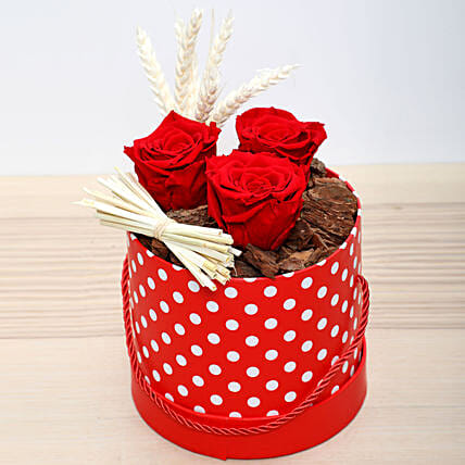 Red Forever Roses in Red Box