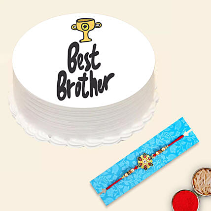 Red Pearl Rakhi and Best Brother Cake:Rakhi With Cakes to UAE