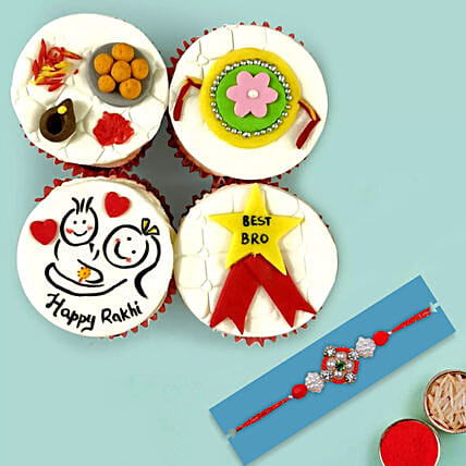 Red Pearl Rakhi and Cup Cakes:Rakhi With Cakes to UAE