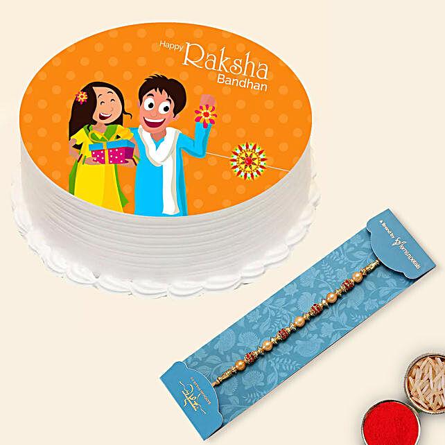 Red Pearl Rakhi and Rakshabandhan Cake:Rakhi With Cakes to UAE