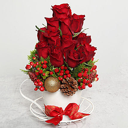 Red Roses and Berries Arrangement
