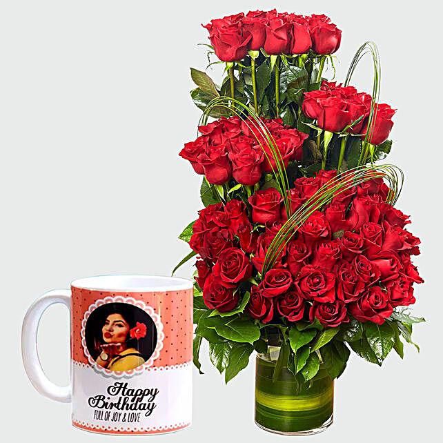 Red Roses Arrangement and Personalised Mug