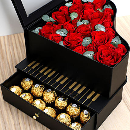 Roses and Chocolates Black Heart Box