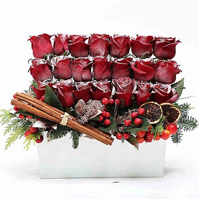 Seasons Greetings With Snow Roses