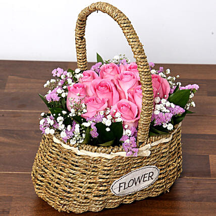 Soft Pink Roses Basket
