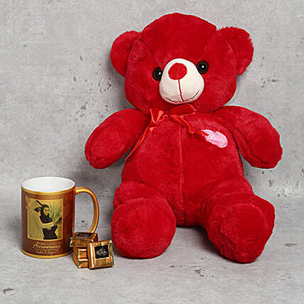 Special Teddy Bear Mug and Chocolates Combo for Anniversary