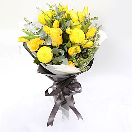 Summer Sunshine Bouquet Of Roses and Tulips