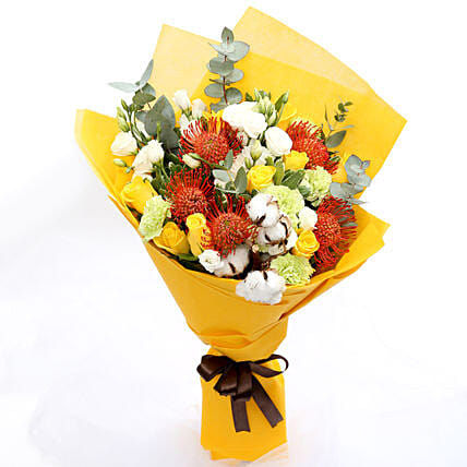 Sunshine Roses and Protea Flower Bouquet