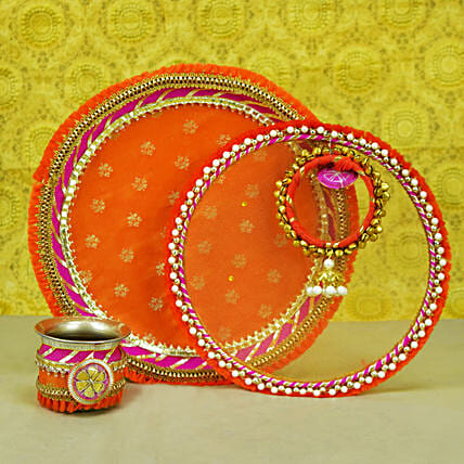Thread Embroidery Orange Thali Set:Karwa Chauth Presents to UAE