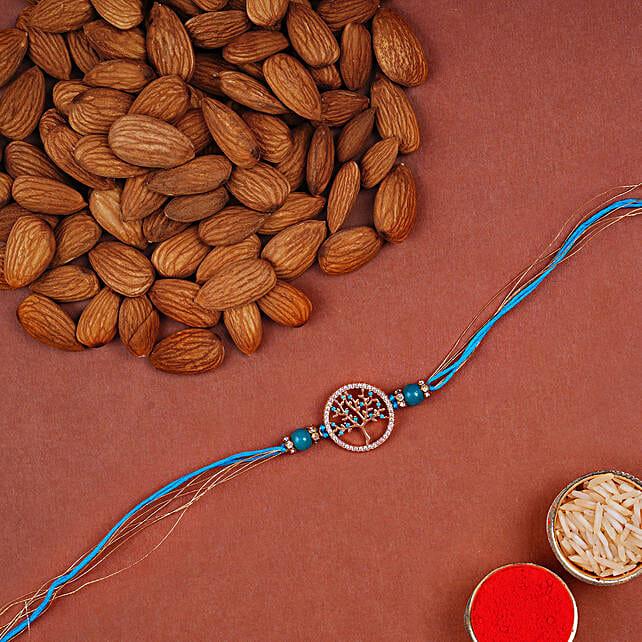 Tree Of Life Rakhi And Almonds:Single Rakhi to UAE