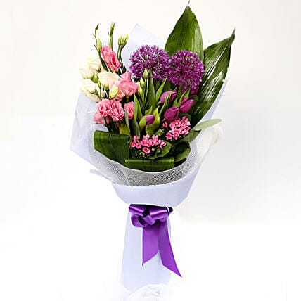 Tulip and Eustoma Mixed Floral Bouquet