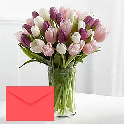 Tulips Vase Arrangement With Greeting Card:Send Tulip Flowers to UAE