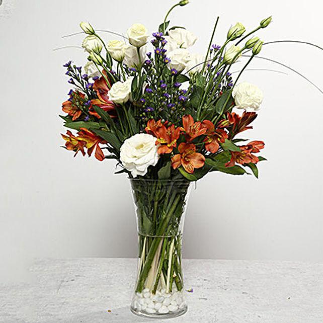 Mixed Flowers Arrangement In Glass Vase Uae Gift Mixed Flowers Arrangement In Glass Vase Ferns N Petals