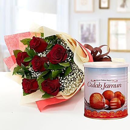Red Roses Bouquet and Gulab Jamun Combo:Send Sweets to UAE