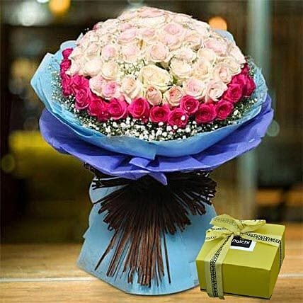 Splendid Roses Bouquet and Patchi Chocolate Combo