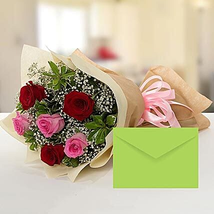 Attractive Roses Bouquet With Greeting Card:Dubai Flower Delivery