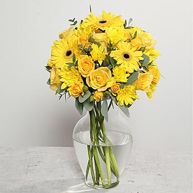 Yellow Gerberas and Roses Arrangement