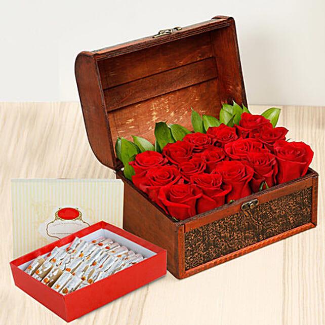 Red Roses Treasured Box With Kaju Roll