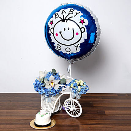 Baby Boy Flower Arrangement and Cake:Premium Gifts Delivery in UAE