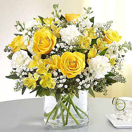 Yellow and White Mixed Flower Vase