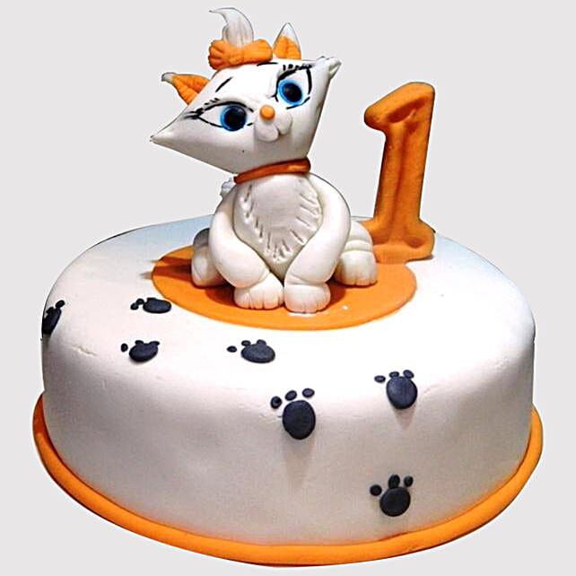 Sensational White Cat Birthday Marble Cake Funny Birthday Cards Online Fluifree Goldxyz