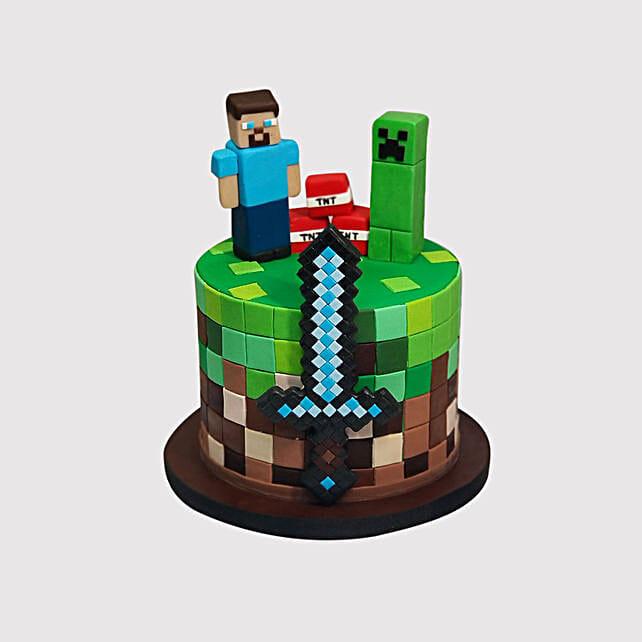 Surprising Minecraft Birthday Red Velvet Cake In Uae Gift Minecraft Birthday Funny Birthday Cards Online Hendilapandamsfinfo