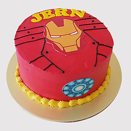 Astounding Iron Man Fondant Round Chocolate Cake In Uae Gift Iron Man Birthday Cards Printable Trancafe Filternl