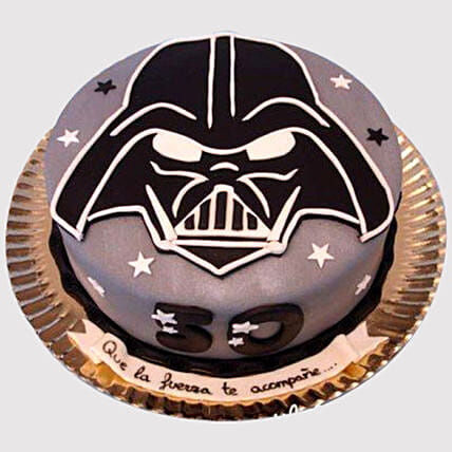 Fantastic Darth Vader Special Fondant Chocolate Cake In Uae Gift Darth Birthday Cards Printable Trancafe Filternl