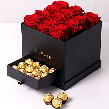 Forever Red Roses With Rochers In Box:Premium Gifts Delivery in UAE