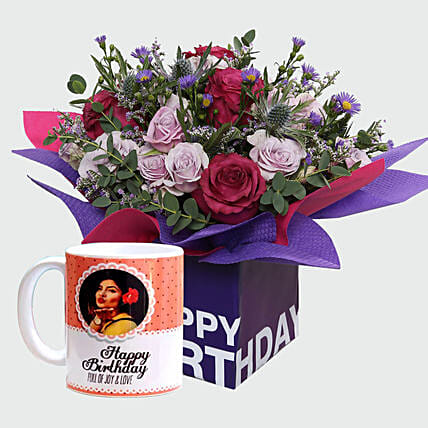 Birthday Special Flowers and Personalised Mug