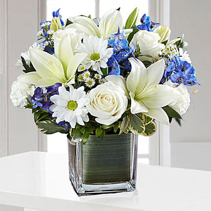 Blue and White Blooms Vase
