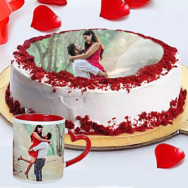 Order Red Velvet Photo Cake with Mug Online