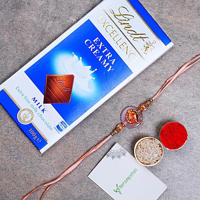 Divine Ganesha Rakhi And Lindt Chocolate