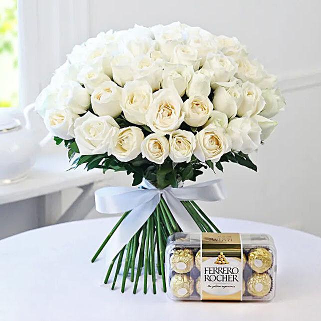 White Roses Bunch and Ferrero Rocher